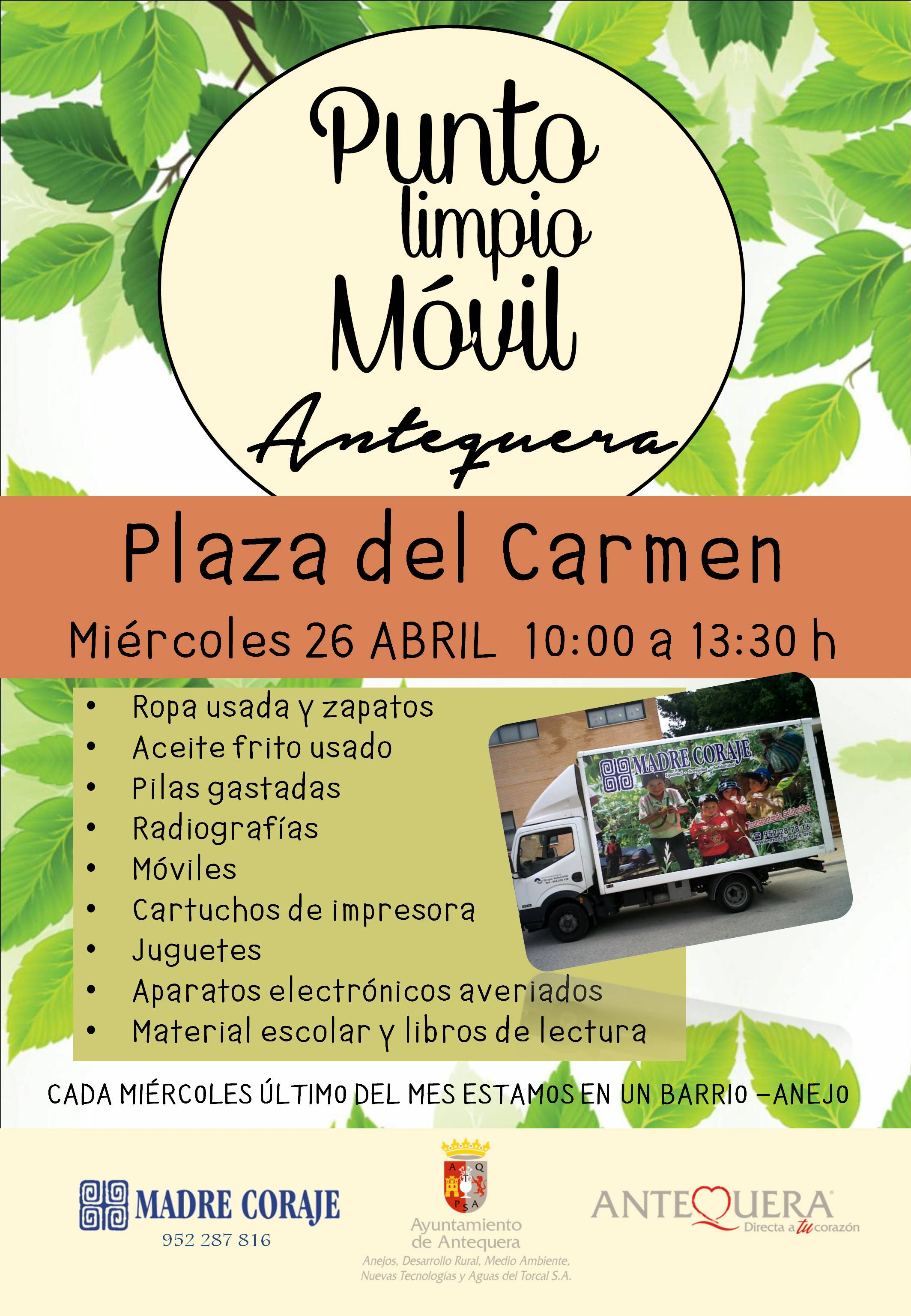 Cartel Punto Limpio Movil PLAZA DEL CARMEN ABRIL 2017